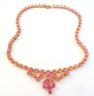 Vintage pink Rhinestone Studded Swag And Drop Necklace.